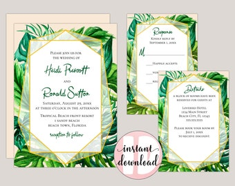 KAI - Tropical Foliage Printable Wedding Invitation Suite