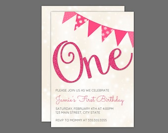 One Pink Sparkily Birthday Party Invitation