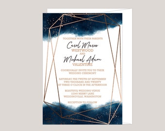 Watercolor Geometric Splash Wedding Invitation