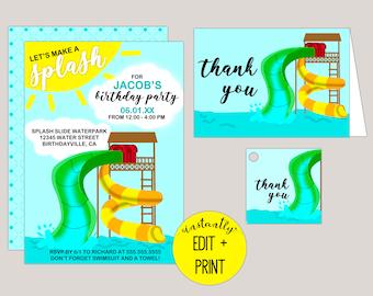Let's Make a Splash | Water Park Printable Birthday Invitation Template in Editable PDF Format