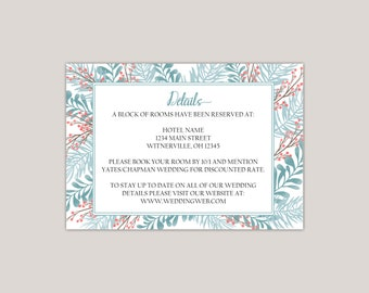 Apatite Wedding Enclosure Card, Details Card, Information Card, Winter Wedding, Winter Garden, Winter Ferns and Leaves, Boho, Whimsical