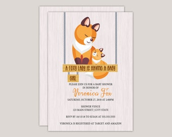 A Foxy Lady, Fox Baby Shower Invitation