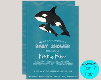 Orca Whale Baby Shower nvitation Template