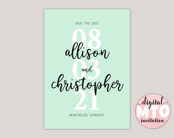 MINTY - Modern Calligraphy Save The Date Card, Photo Save The Date, Large Date, Custom Made, Printable PDF, Digital JPEG,