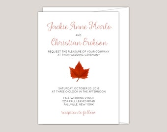 MAPLEARA - Fall Wedding Invitation, Red Maple Leaf, Printed Modern Invitation, Free Envelopes Included