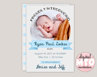 PROUDLY INTRODUCING - Baby Boy Birth Announcement, Whimsical Boy, Modern, Simple Birth Announcement, Photo Announcement Card