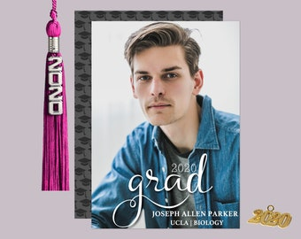 White Grad Script Graduation Photo Announcement