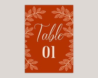 AUTUMN- Whimsical Leaves Wedding Table Numbers, Fall Wedding, Artisan, Handcrafted, Burnt and Pastel Orange, Reception Decor,