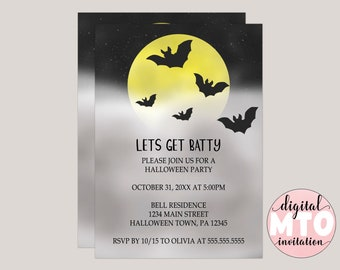 Let's Get Batty Halloween Party Invitation, Bat Halloween Invitation, Digital or Printable Invite, JPEG or PDF, Custom Invitation