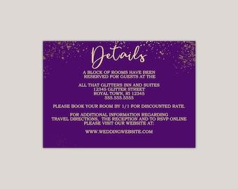 Royal Purple and Gold Wedding Enclosure Card