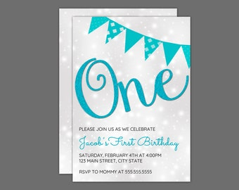 One Blue Sparkily Birthday Party Invitation