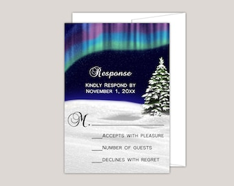 AURORA - Northern Lights Wedding RSVP Card, Printed Wedding Suite, Aurora Borealis, Scandinavian Wedding, Winter Wedding Response Card