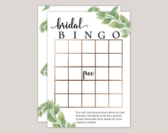 Luxury Eucalyptus Bridal Shower Bingo Game