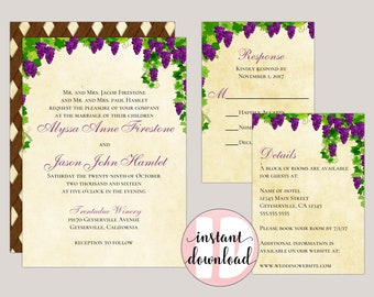 Amrita - Tuscany Inspired Vineyard Wedding Invitation Suite, DIY Wedding Invitations, purple Grape Vines, Greenery Invitation, Rustic