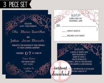 Rose Gold Foil Floral Modern Wedding Invitation Suite