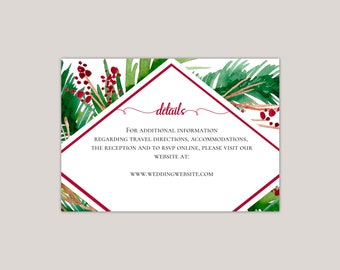 Evergreen- Printed Wedding Enclosure Card, Details Card, Information Card, Winter Weddings, Evergreen Fern, Winter Red Berries