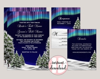 Northern Lights Wedding Invitation Suite, Printable PDF Template