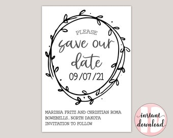 WILLOW - Country Save The Date Template, Hand-Drawn Wreath, Printable PDF, Wedding Announcement, Farmhouse Theme, Whimsical Save The Date