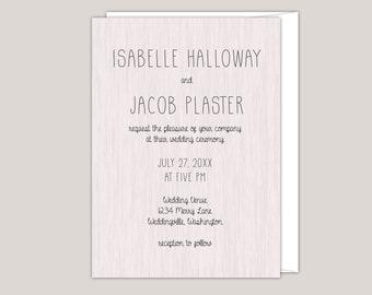 Rustic Modern Wood Wedding Invitation