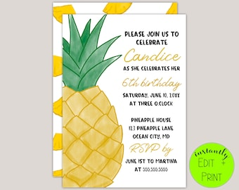 Pineapple Kids Birthday Invitation Template