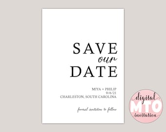 MARGO - Printable Save The Date Card, Wedding Announcement, Formal Save The Date, Modern Minimalist, Photo Save The Date, Custom Card