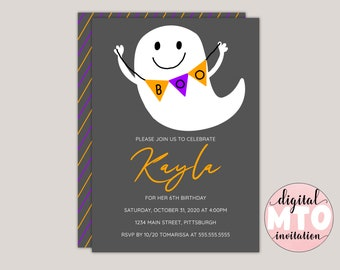 Boo Ghost - Halloween Birthday Party Invitation, Pumpkin Carving Party, Kids Halloween Party, Virtual Halloween Party, Printable JPEG Or PDF