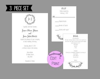 Delicate Rustic Wreath Wedding Invitation Suite, Printable PDF Template