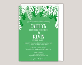 GREENSCAPE - Luscious Green Leaves Wedding Invitation, Printed Wedding Invitation leaf canopy, summer wedding, free envelopes included