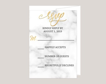 Metallic Gold and Marble Wedding RSVP Card