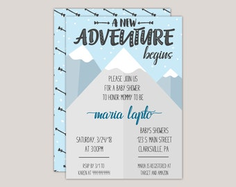 The Adventure Begins Winter Baby Shower Invitation