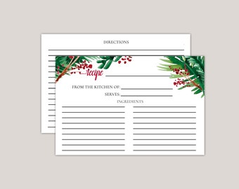 EVERGREEN - Recipe Card, Winter Bridal Shower, Bridal Shower Gift, Gifts for her, watercolor winter ferns and berries, printed recipe cards