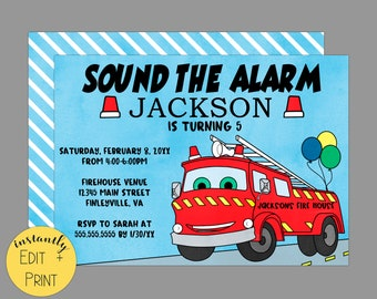 Sound The Alarm, Watercolor Firetruck Birthday Invitation Template