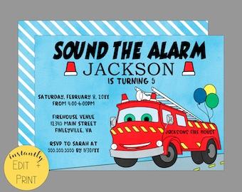 Sound The Alarm, Watercolor Firetruck Birthday Invitation Template