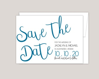 Modern Large Script Save The Date Announcement Card