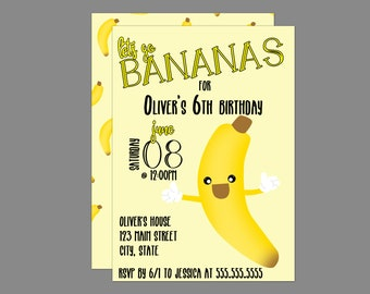 Lets Go Bananas Birthday Invitation