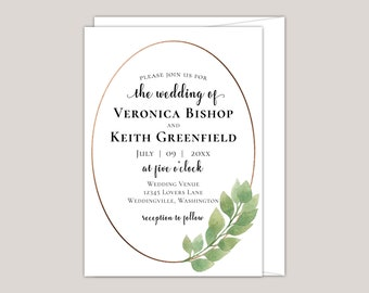 Luxury Eucalyptus Wedding Wedding Invitation