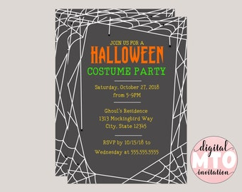 Spider Web Halloween Costume Party Invitation, Digital Invitation, Printable Invitation, Textable Invitation, Made to Order