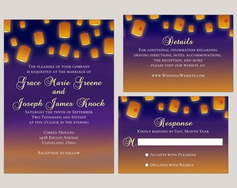 Glowing Lanterns Wedding Invitation Suite