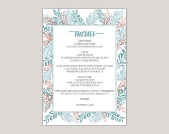 Apatite - Wedding Dinner Menu Cards, Winter Wedding, Blizzard Blue, Old Rose, Winter Ferns and Leaves, Printed Menu Cards, 5x7""