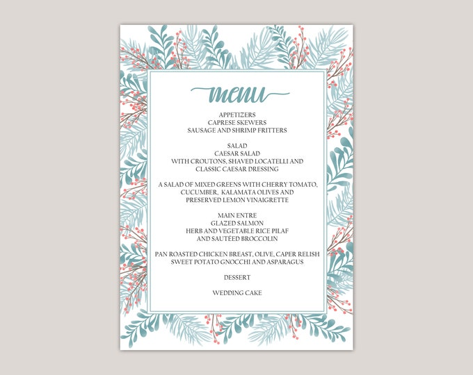"""Featured listing image: APATITE- Wedding Dinner Menu Cards, Winter Wedding, Blizzard Blue, Old Rose, Winter Ferns and Leaves, Printed Menu Cards, 5x7"""""""