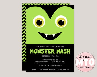 Monster Bash Halloween Party Invitations, Halloween Party, Kids Party, Virtual Party, Printable JPEG Or PDF, Textable Invite