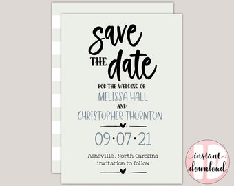 BRAMLEY - Save The Date Card Template, Farmhouse Save The Date, Countryside, Netural Colors, PDF Printable Template, Wedding announcement,