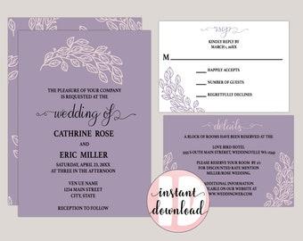 Whimiscal Leaves Printable Wedding Invitation Kit in Editable PDF Format