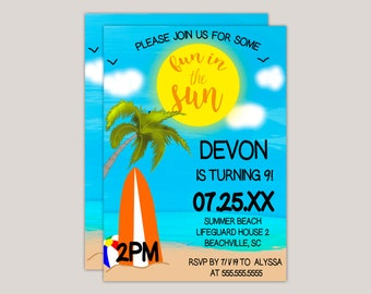 Fun in the Sun Summer Beach Party Invitation Digital or Print Yourself