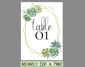 Stylish Succulent Wedding Table Numbers Template