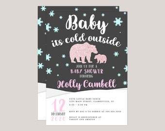 Pink Glitter Polar Bear Baby It's Cold Out Baby Shower Invitation