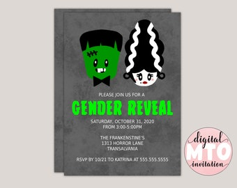 Frankenstein Gender Reveal Party Invitations, Halloween Gender Reveal, Virtual Gender Reveal Party, Printable JPEG Or PDF, Textable Invite