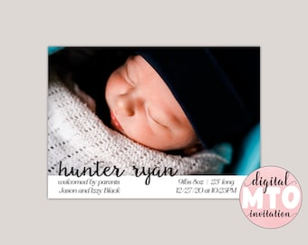 HUNTER - Baby Birth Announcement, Girl Birth Announcement, Baby Boy Annoucement, Photo Birth Annoucement, JPEG or PDF