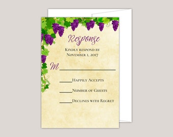 AMRITA - Tuscany Inspired Vineyard Wedding RSVP Card, Response Card,  purple Grape Vines, Greenery, Rustic Romantic Printed RSVP Cards
