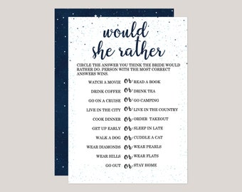 Starryscape - Would She Rather Bridal Shower Game, Starry Night, Under the Stars, Outdoor Galaxy Themes. Printed Bridal Shower Games